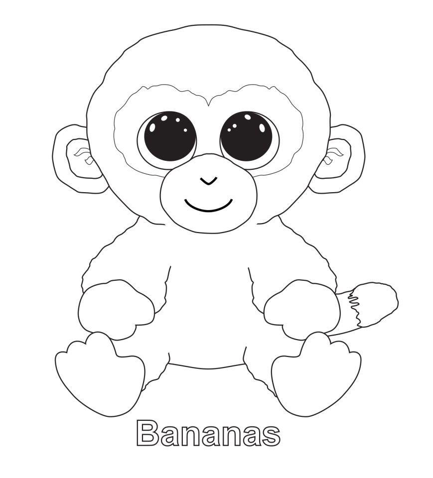 Bananas The Monkey Ty Beanie Boo Unicorn Coloring Pages Cartoon Coloring Pages Cool Coloring Pages