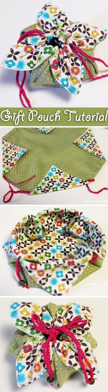 Photo of Fabric Gift Pouch Tutorial.