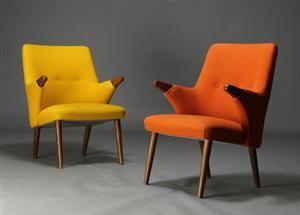 Skippers Møbler. To lænestole med negle af teaktræ, ben af egetræ ...