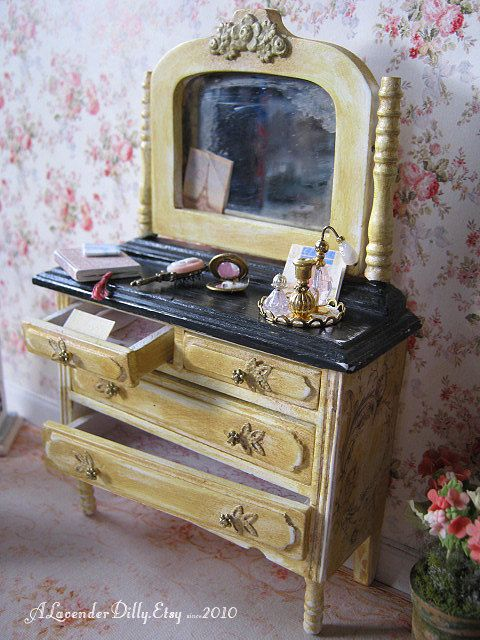 Vintage Dresser with Accessories for Dollhouse by alavenderdilly, $65.00