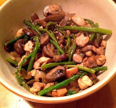 Quick and Delicious Dinner Idea... Chicken, Asparagus and Mushroom Stir-fry.