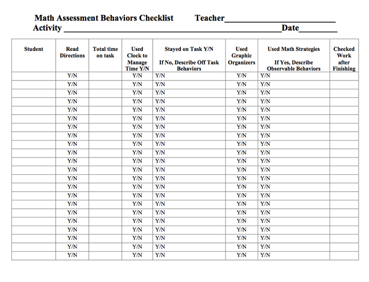 Here's a checklist form for tracking student behaviors (time on ...