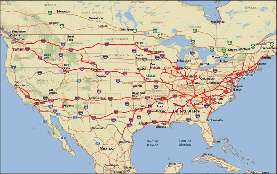 United States Interstate Highway Map Eastern Us Interstate Map - Map of i 40 across us
