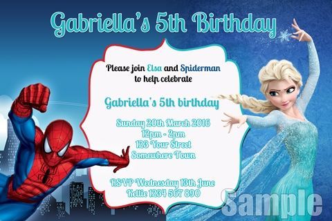 Spiderman And Elsa Frozen Invitations