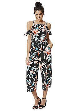 d1b2635763b0 F F Tropical Leaf Print Cold Shoulder Culotte Jumpsuit - Multi ...