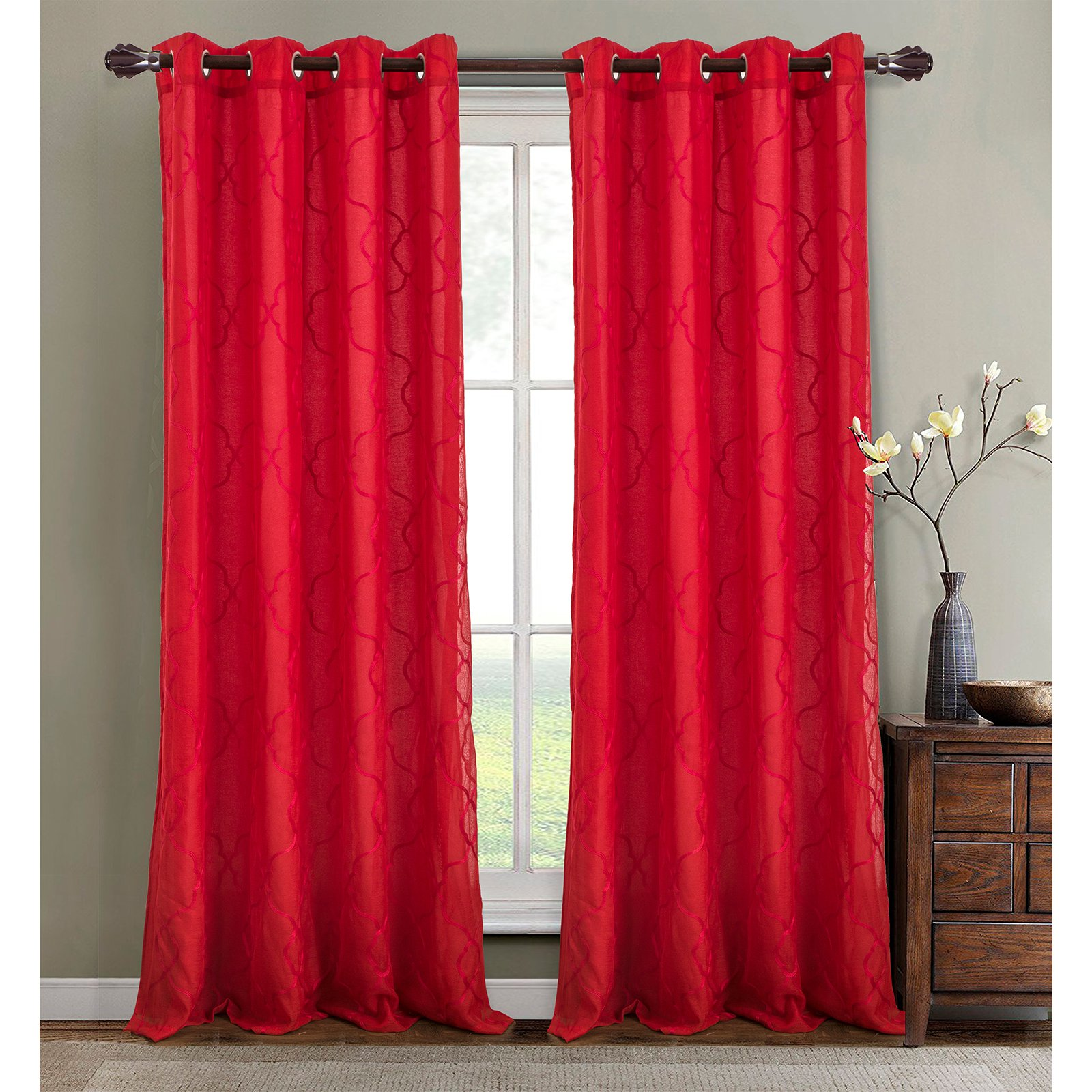 Rt Designers Collection Crescent Embroidered Lined Grommet Window