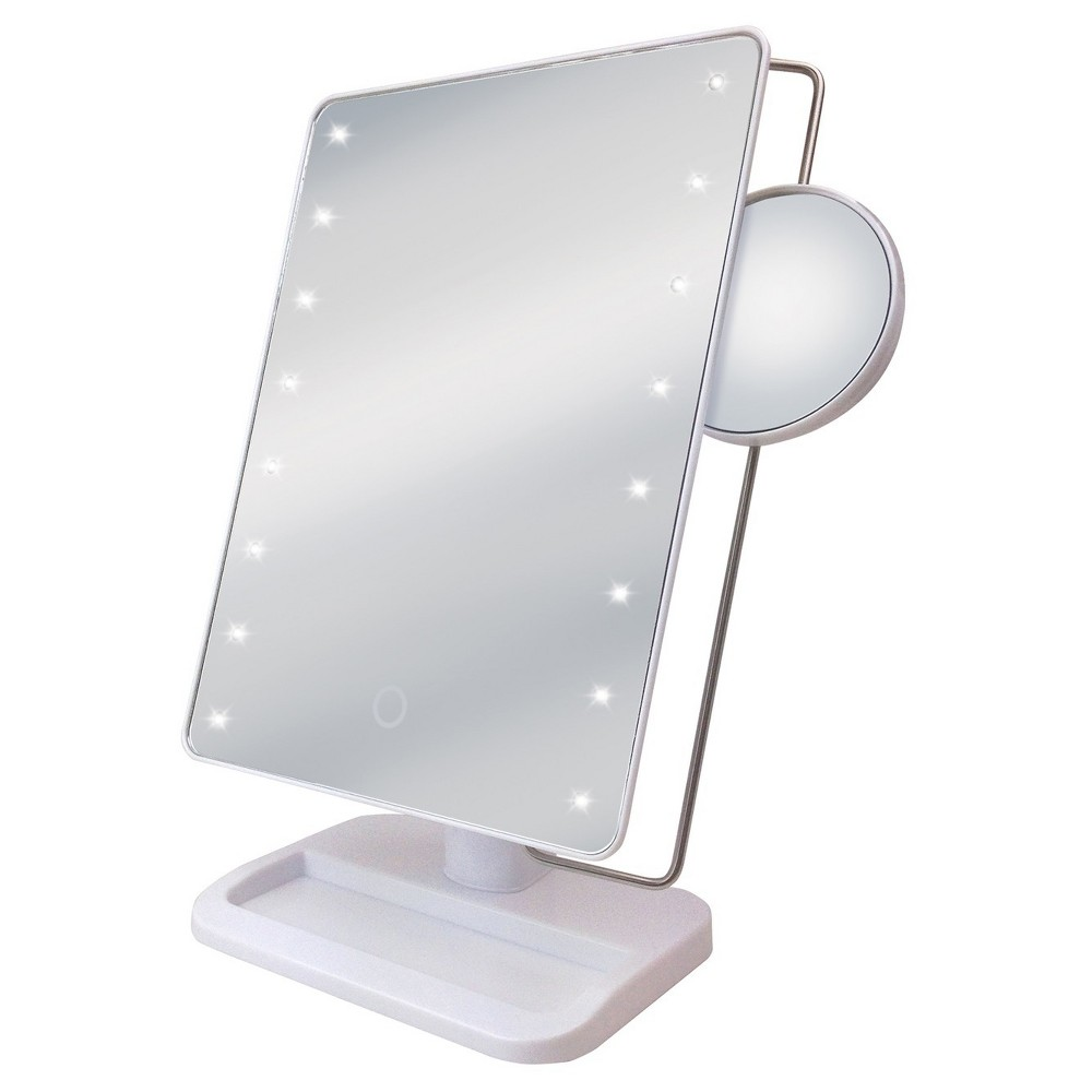 Sharper Image Led Sensor Mirror With 10x Magnification And Tray