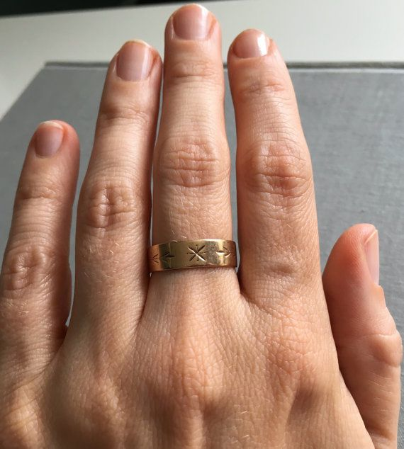 Antique Engraved 9K Gold Ring Band Cigar Ring by AuburnHaus
