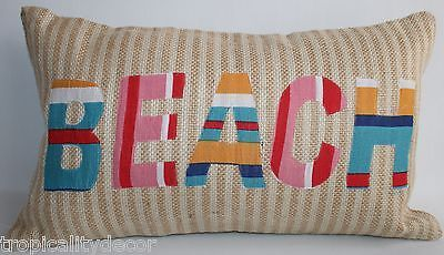 Beach Accent Pillow~ Woven Burlap~ Striped~ Coastal~ Nautical~ Tropical~ Islands