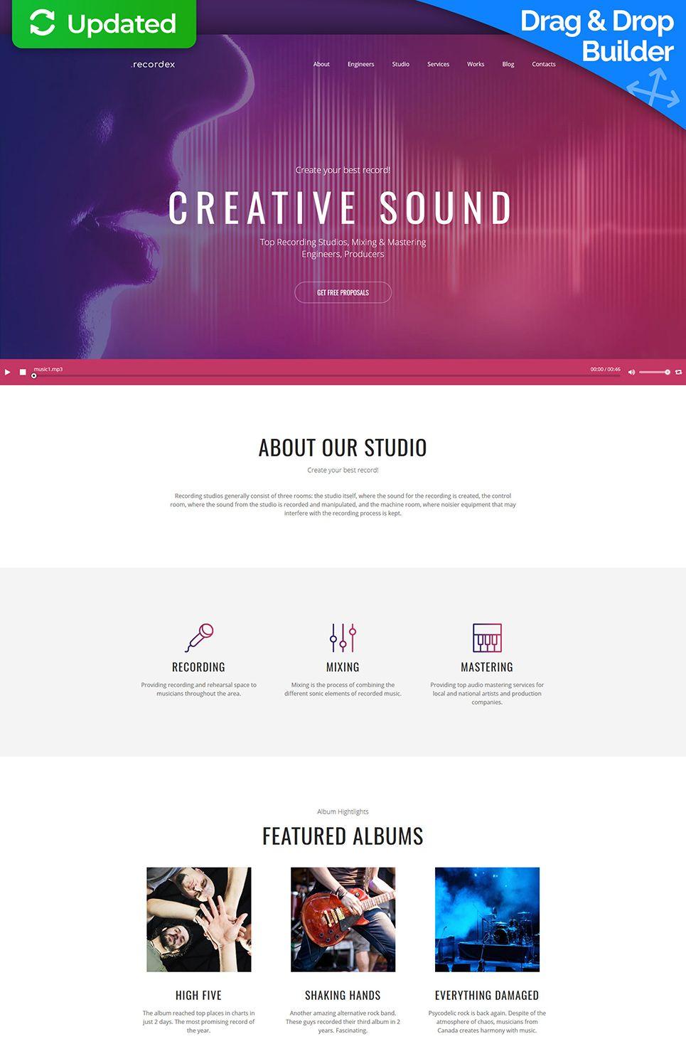 Recordex Recording Studio Premium Moto Cms 3 Template Studio Recording Recordex Recording Studio Templates Master Engineer Recording studio business plan template
