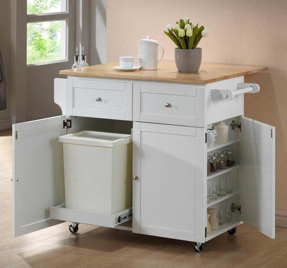 White Rolling Extendable Kitchen Island With Spice Rack