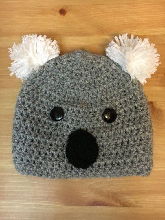 Koala Bear Crochet Hat Baby hat Animal Hat by LittleBayBlueDesigns ... 43b629155280
