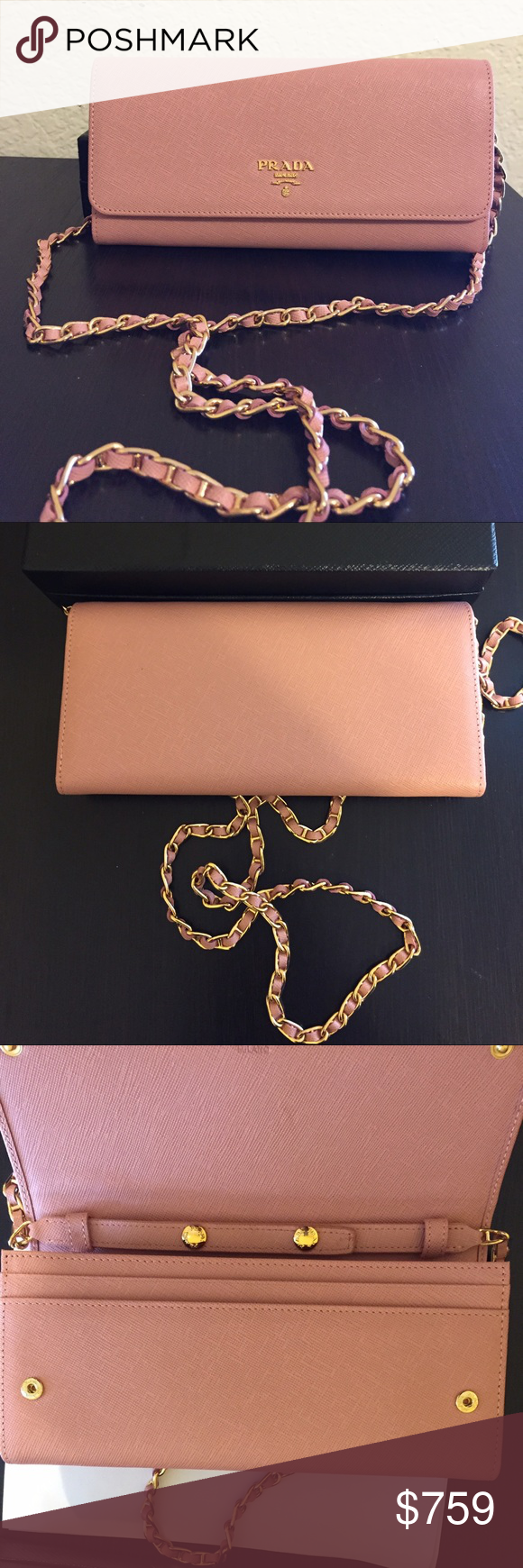 32c5c33f7738 Authentic Prada Saffiano Wallet on Chain Pale Pink Prada saffiano leather  wallet on chain Pale pink Condition: brand new in box •Golden hardware.