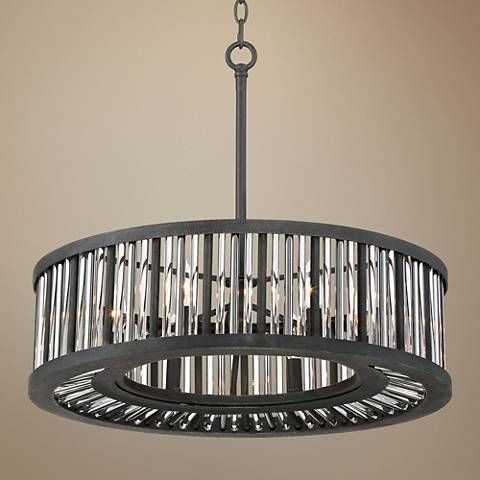 Brixton Black And Silver 24 Wide Drum Pendant Light 1g906