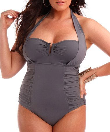 d5649810dbe72 Take a look at this Sorella Swim Gray U-Bar One-Piece - Women   Plus by Sorella  Swim on  zulily today!