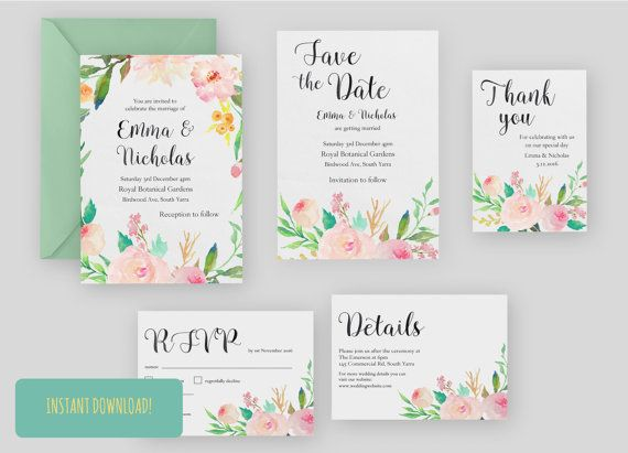 Printable Wedding Invitation Set Fl A5 A6 By Jasperandpud