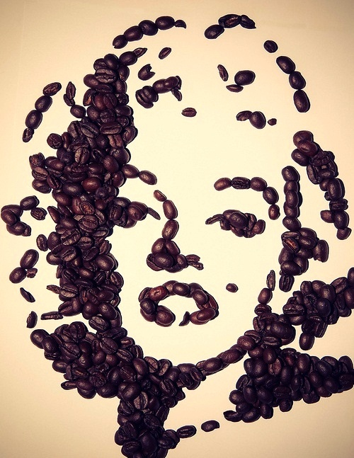 Marilyn Monroe Wall Art Made From Coffee Beans Coffee Bean Art Coffee Art Coffee Beans
