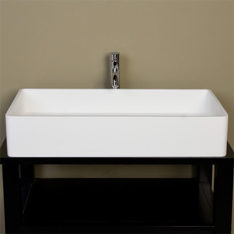 Large Cosima Rectangular Resin Vessel Sink White Matte Finish Bathroom Sinks Bathroom Rectangular Sink Small Bathroom Vanities Rectangular Vessel Sink