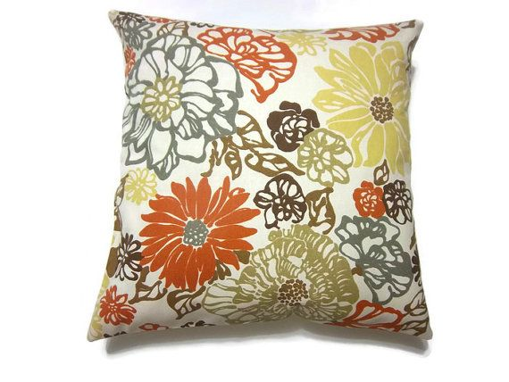 decorative pillow cover orange tangerine olive green mustard yellow brown charcoal gray floral throw accent 18x18