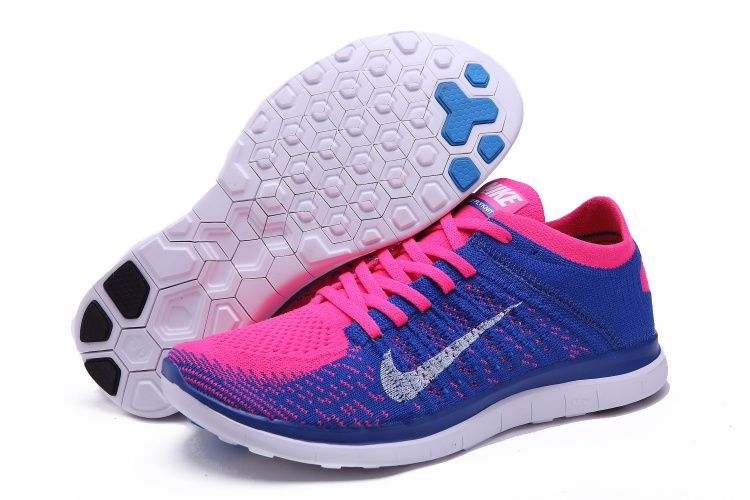 Nike Free Run 4.0 Flyknit Womens Blue Pink Running Shoes 631050-600