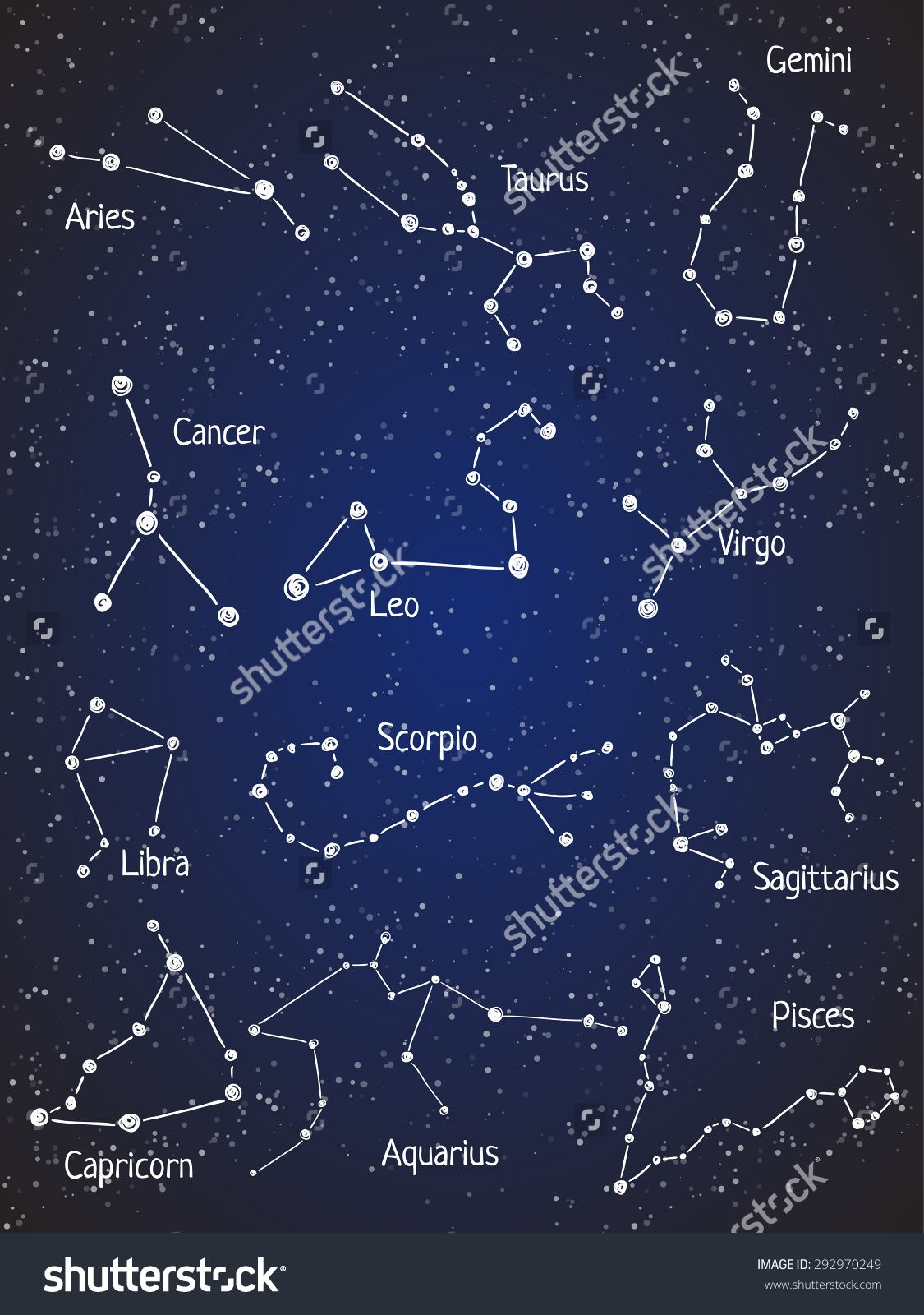 Set Of Zodiac Constellations Vector Space And Stars