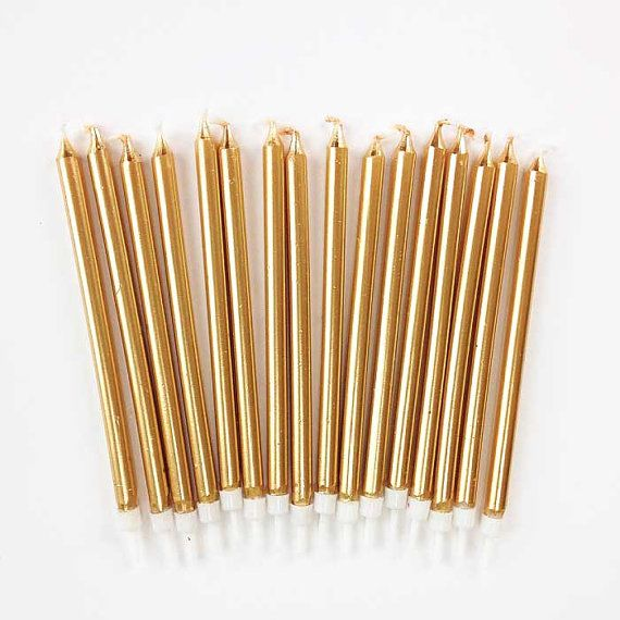 5 Gold Birthday Candles 16 Tall Metallic Tapers Party Cake Decorations Golden Anniversary Wedding