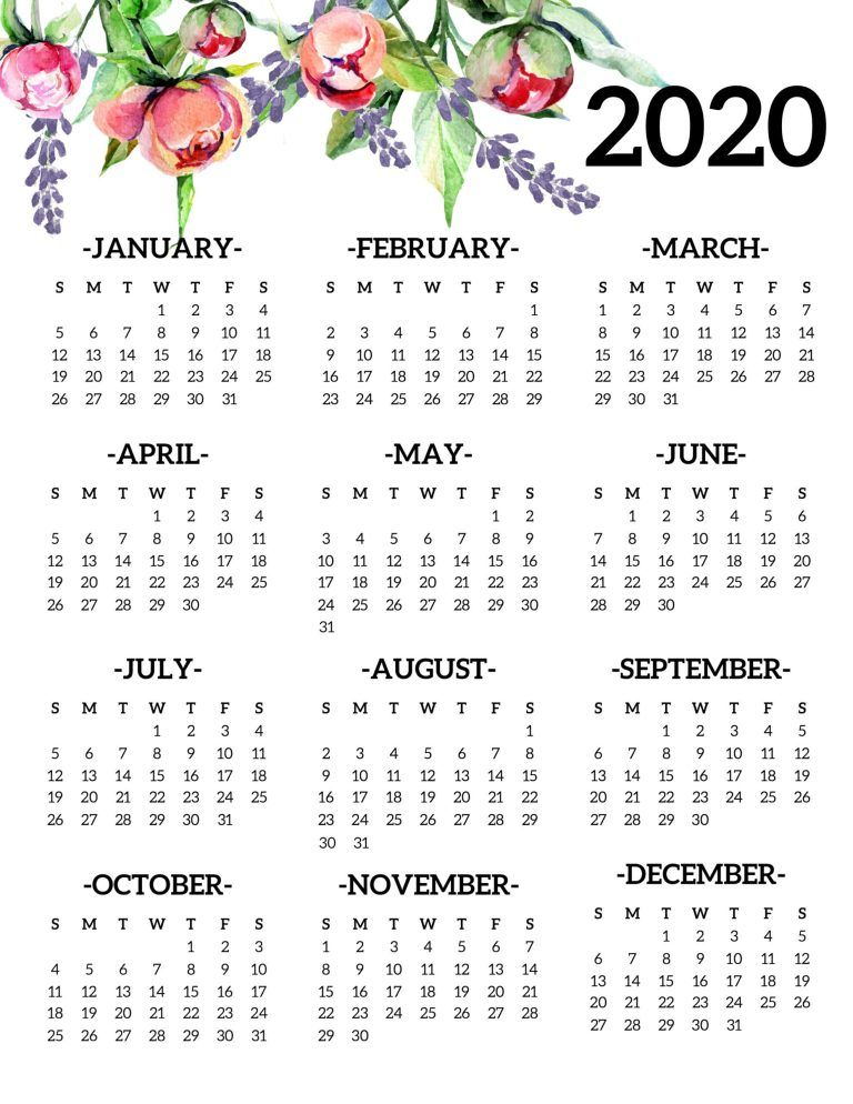 Free Printable 2020 Calendar Yearly One Page Floral  Paper Trail Design