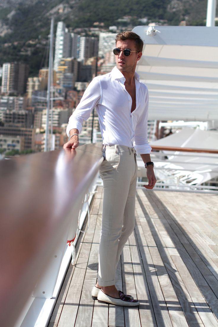 Men 39 s white dress shirt beige chinos beige canvas tassel for Mens shirt with tassels