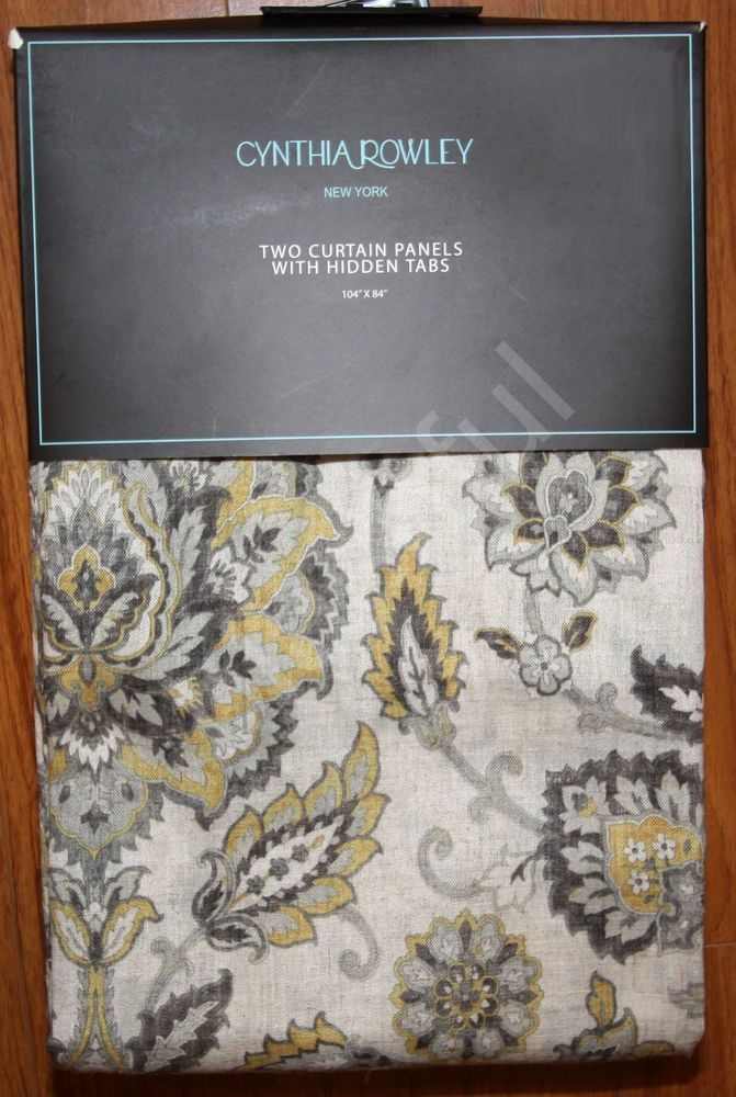 NEW  Cynthia Rowley Gold Gray Jacobean Floral  2  Window Curtain Panels  104x84. NEW  Cynthia Rowley Gold Gray Jacobean Floral  2  Window Curtain