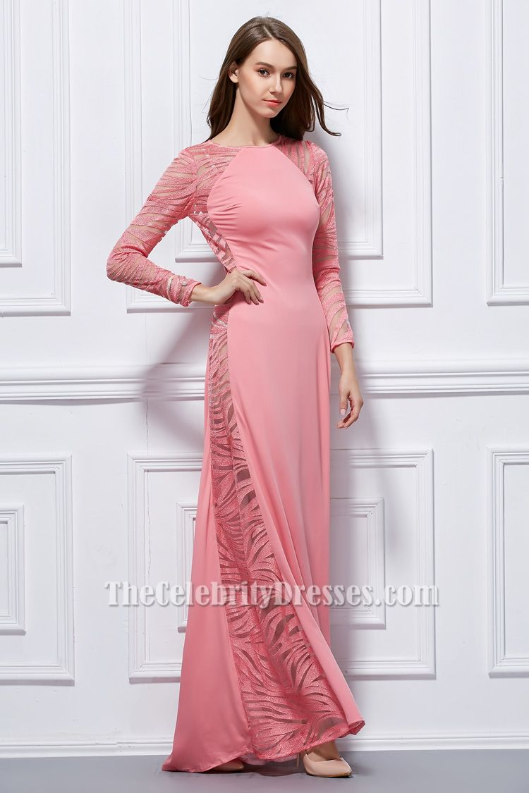 Sexy pink long sleeve formal dress evening gown us size