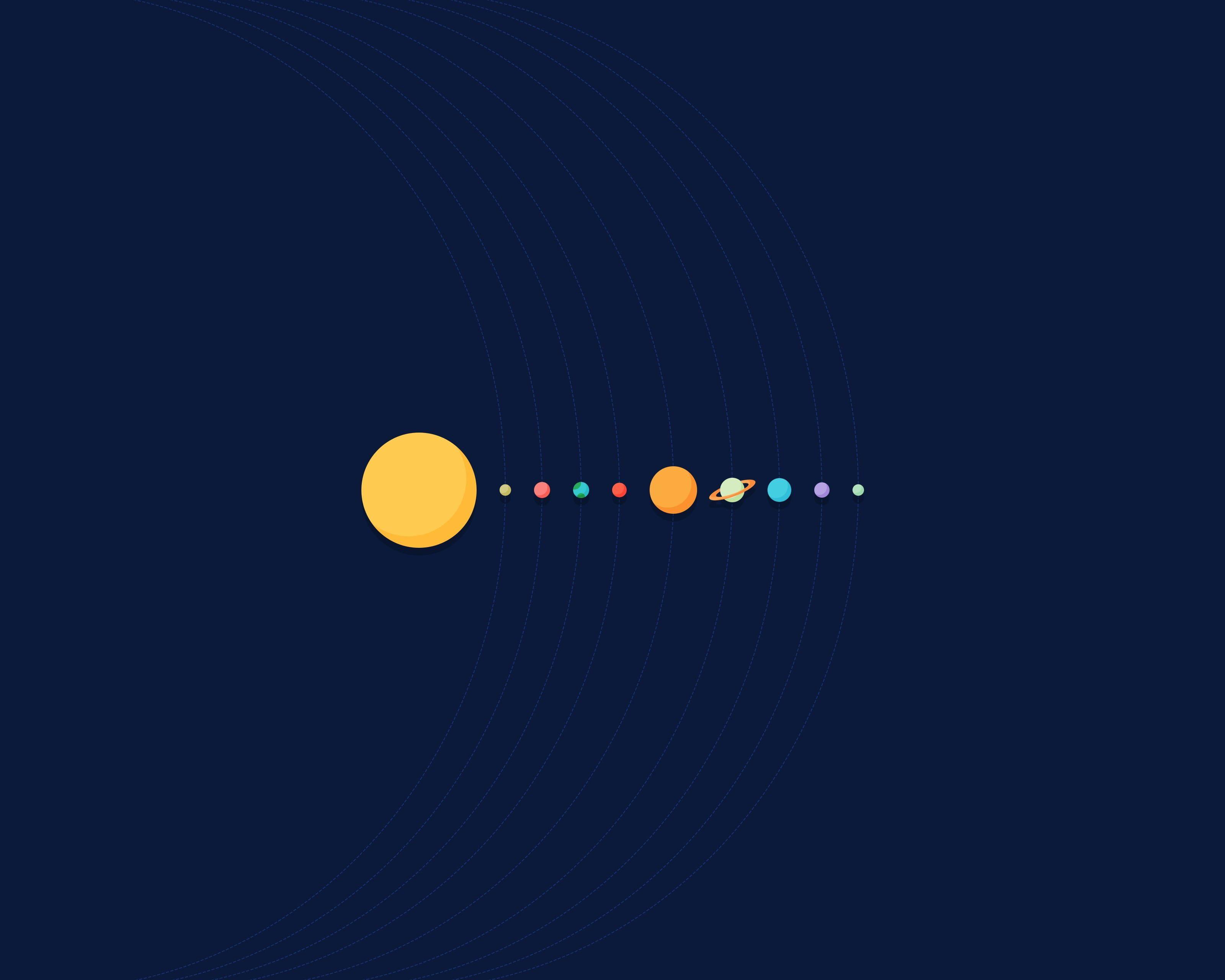 solar system illustration Solar System minimalism 2K