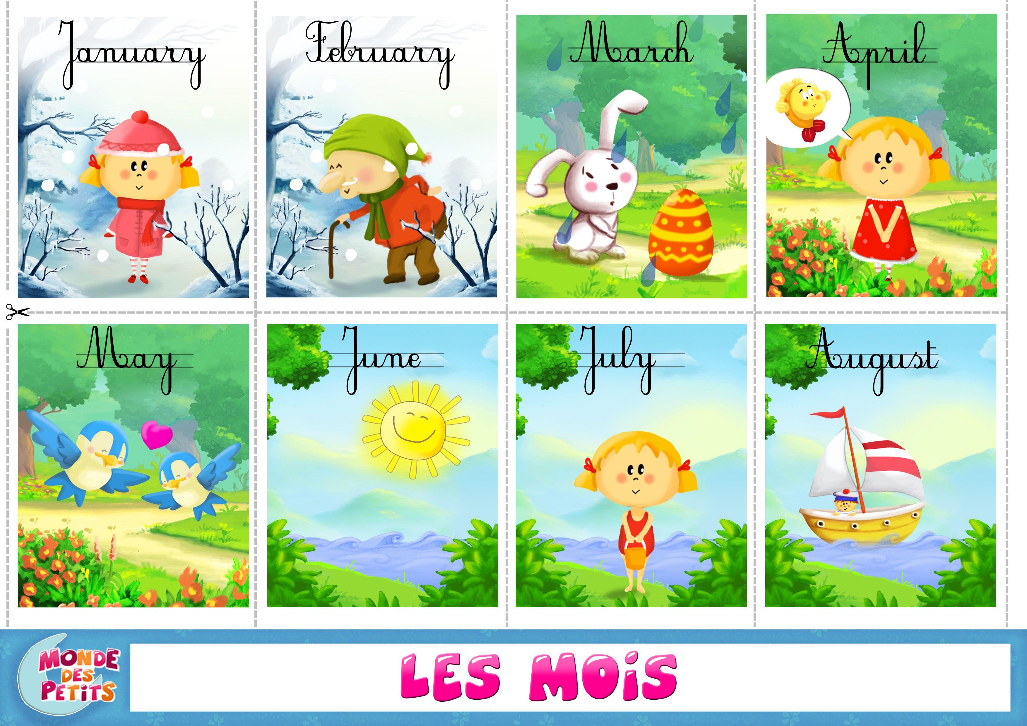 cartes  u00e0 imprimer apprendre les mois en anglais