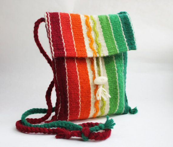 Rainbow  Handwoven Purse  Wool Purse  Handmade by TheColorfulLoom