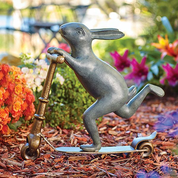 Improvements Scooter Bunny Garden Statue (7620 RSD) ❤ Liked On Polyvore  Featuring Home, Outdoors, Outdoor Decor, Frog Lover, Garden Decor, Garden  Statue, ...