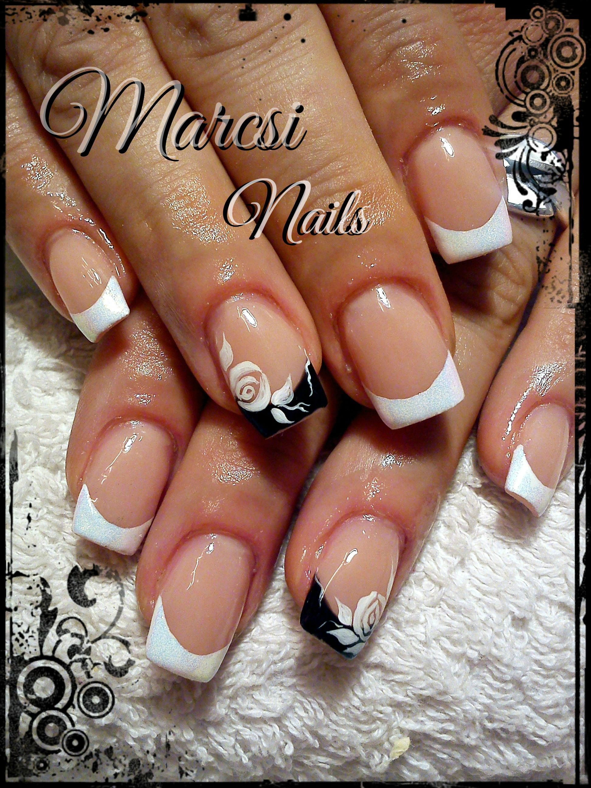 Black And White French Nail French Nail With Rose Painting French Nails White Tip Nail Designs White Tip Nails
