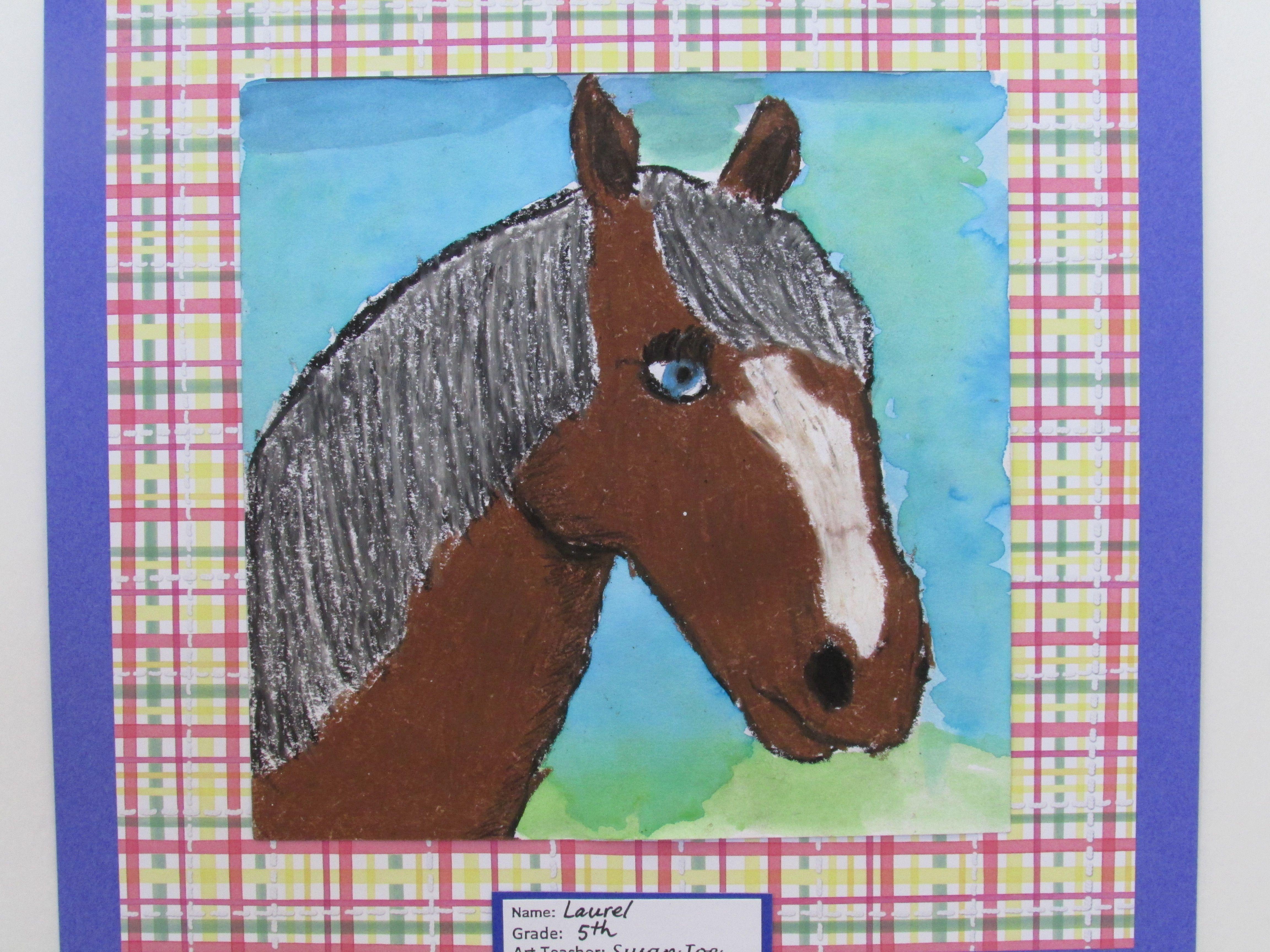 "5th grade oil pastel horse portrait; 9"" X 12'; art teacher: Susan Joe"