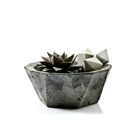 Tazón de fuente geométricas concretas, decoración minimalista de concreto, hogar moderno escandinavo, Jardinera de cemento, hormigón candel titular