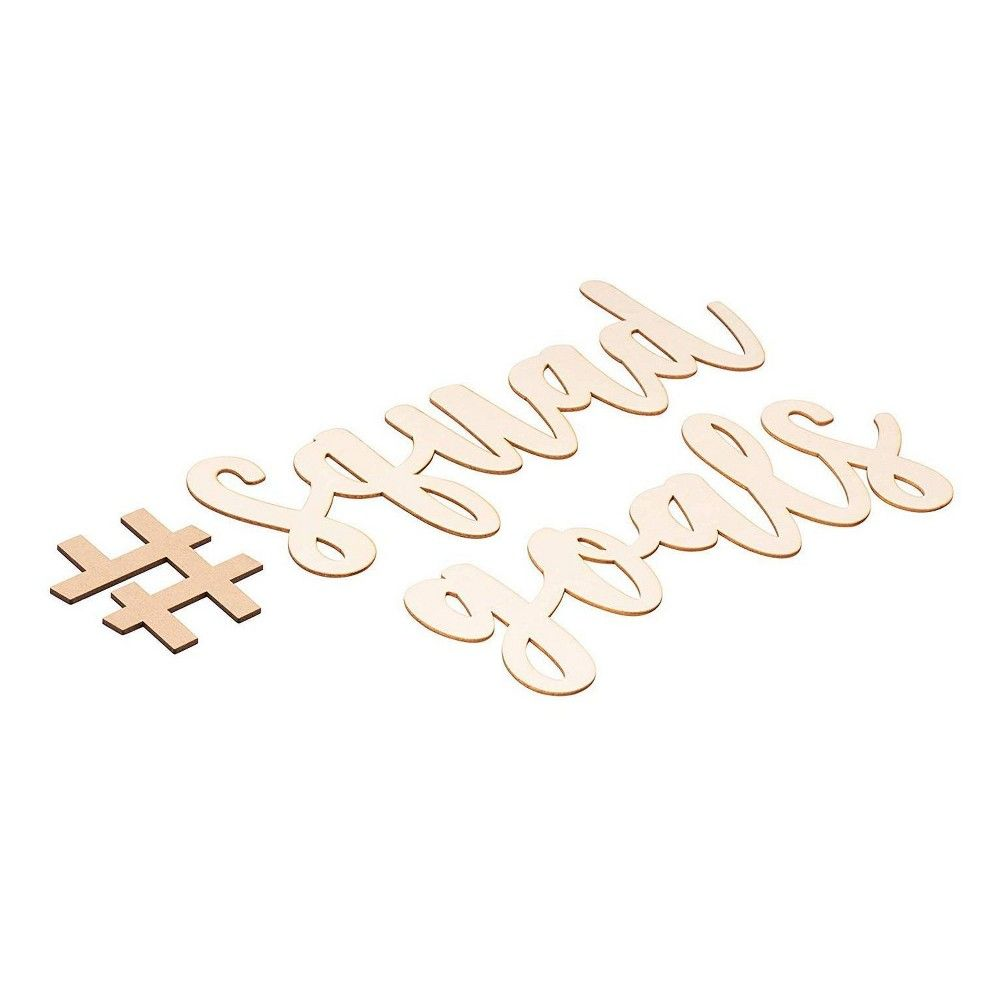 Genie Crafts Hashtag Squad Goals Script Sign, Unfinished Wood Letters with Drawing Stencil