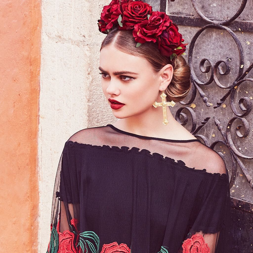 Pin by suzan rozetti on huge earrings pinterest rock rose and crown silk red roses and black leather leaves sit on a velvet headband shop crowns at rock n rose izmirmasajfo