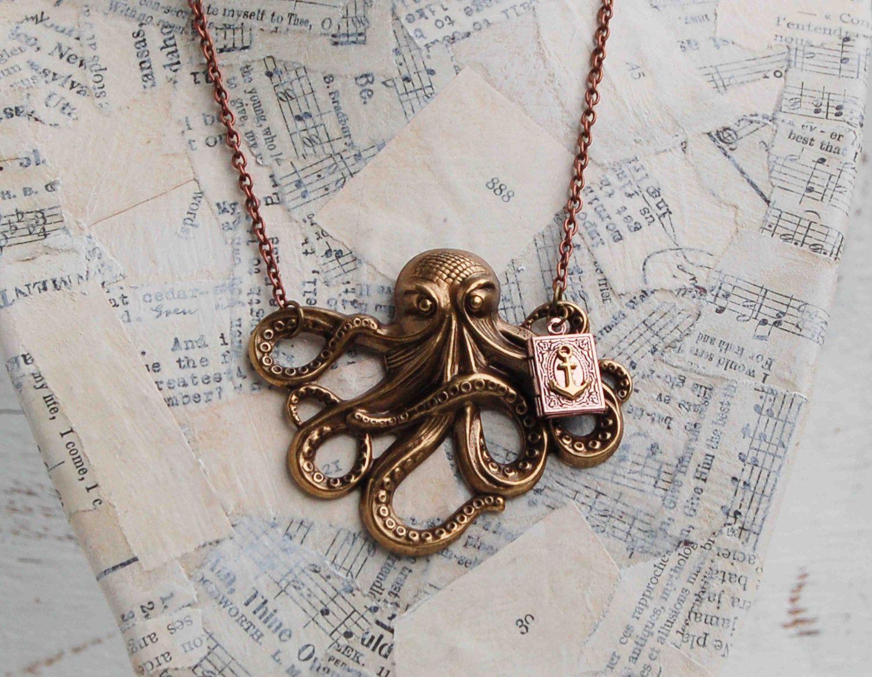 Octopus Steam Punk Necklace Sea Monster Treasure Nautical Ocean Anchor Book LOCKET. $29.00, via Etsy.