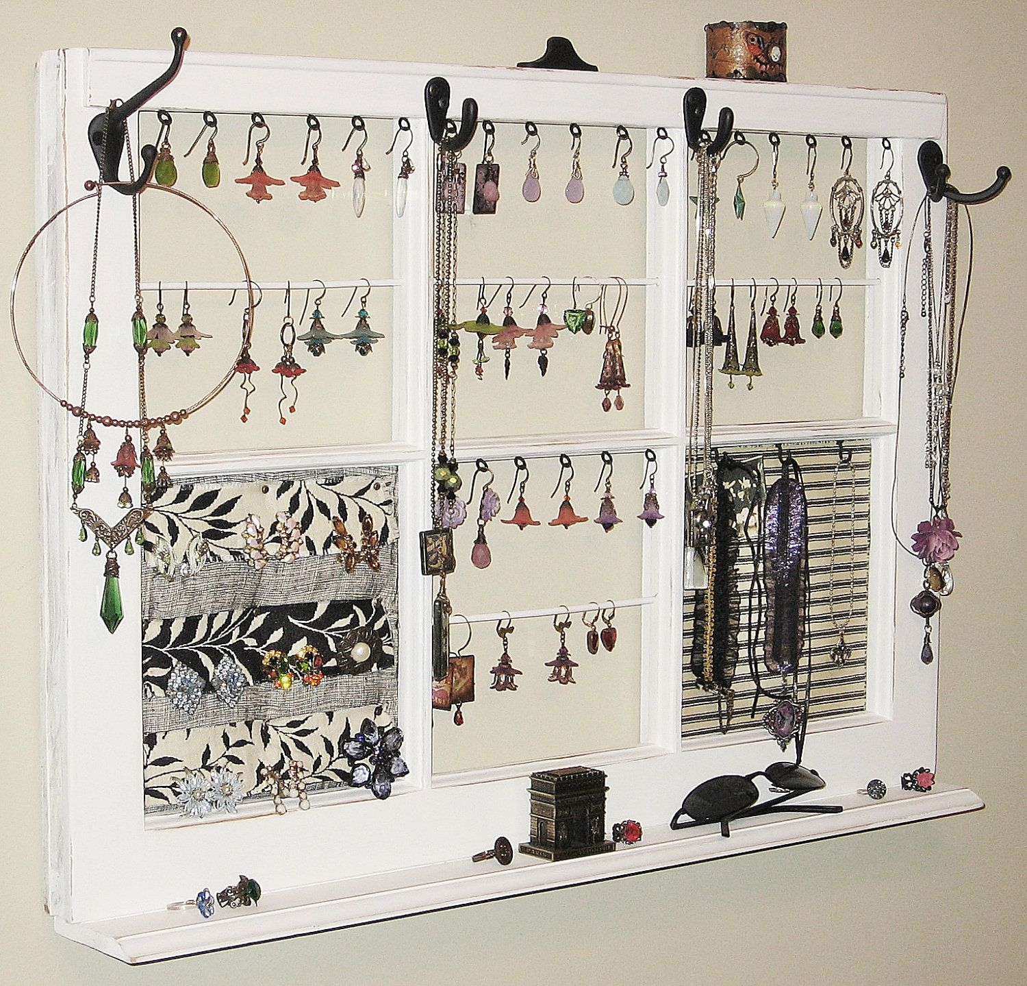 Upcycled Decor Window Frame Wall Hanging Jewelry Organizer Display