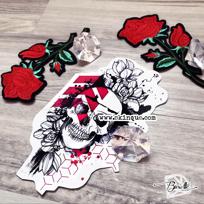 Trash polka skull flower rose geometric abstract tattoo illustration