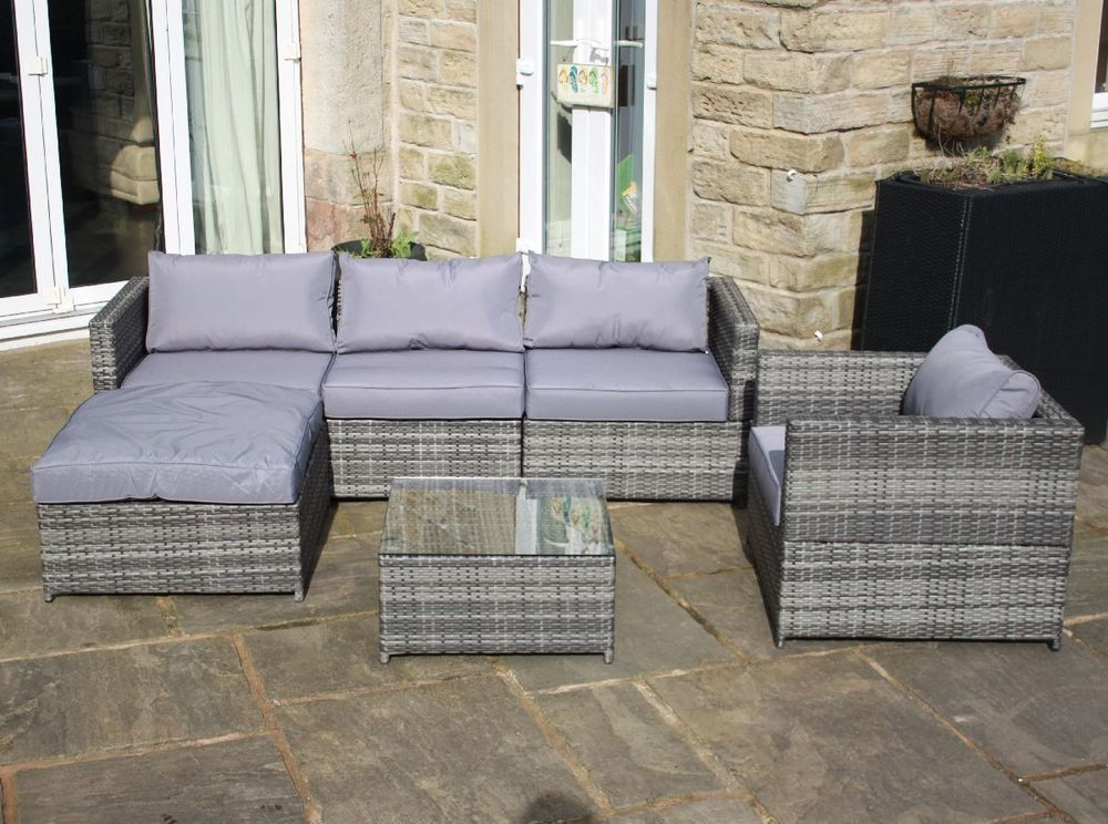 Rattan Garden Black Grey Brown Outdoor Corner Sofa And Table Set New Furniture
