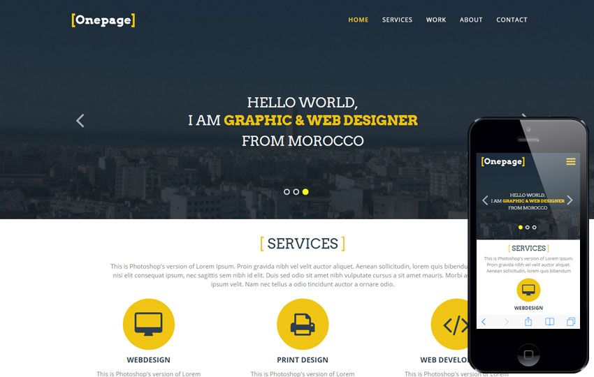 One Page a #Personal #Portfolios #Flat #Bootstrap #Responsive