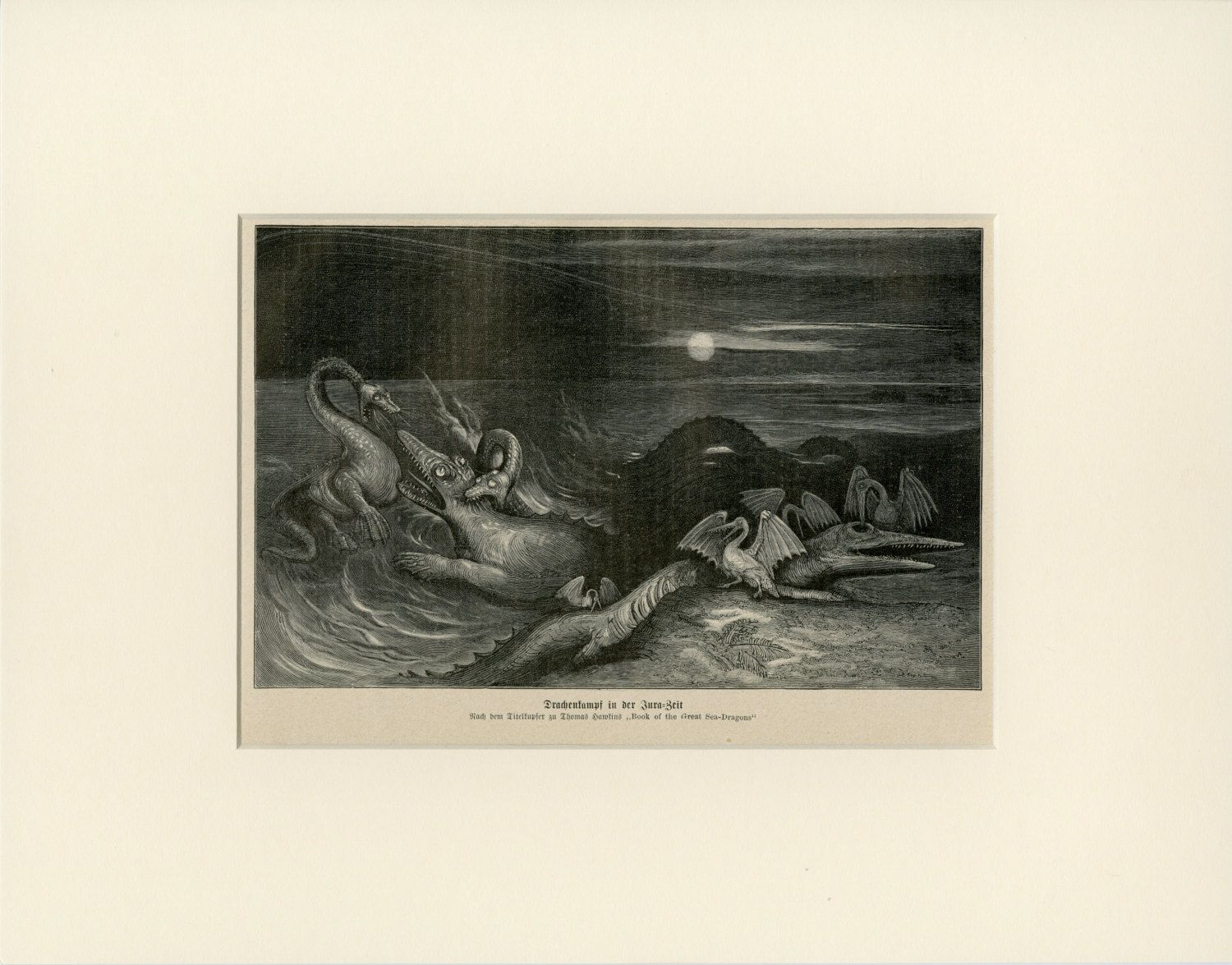 Dinosaur Sea Monster Art Print C 1900 Antique Engraving From Germany Wall Hanging Home Decor Gift Ready To Frame