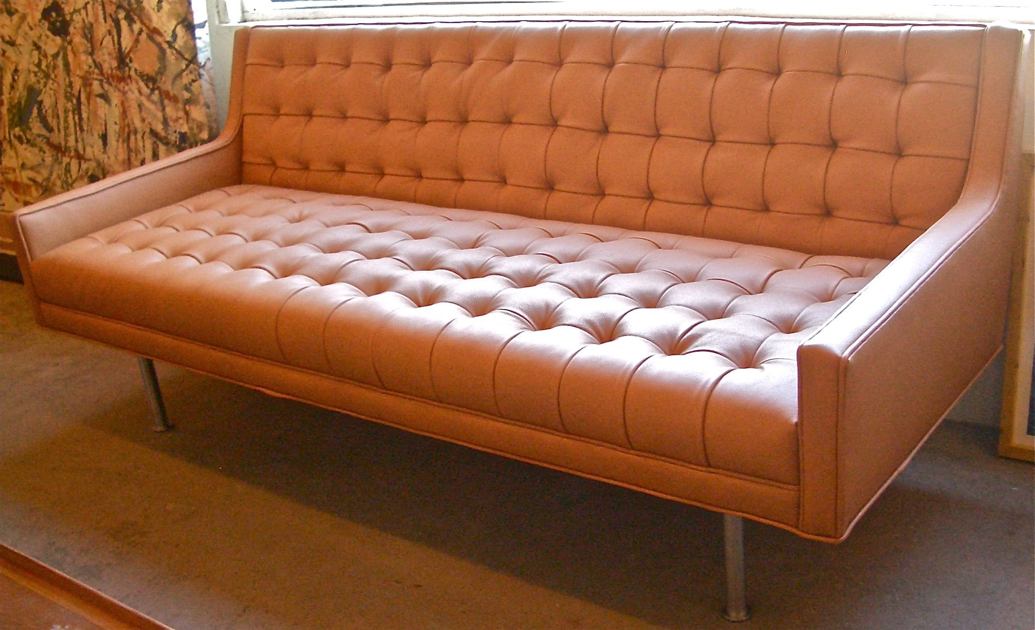 Good Looking Orange Leather Sofas You Must Have Fetching Reclining Sofa With Ontufted Backrest And Seat Cushion Also Metal Legs For