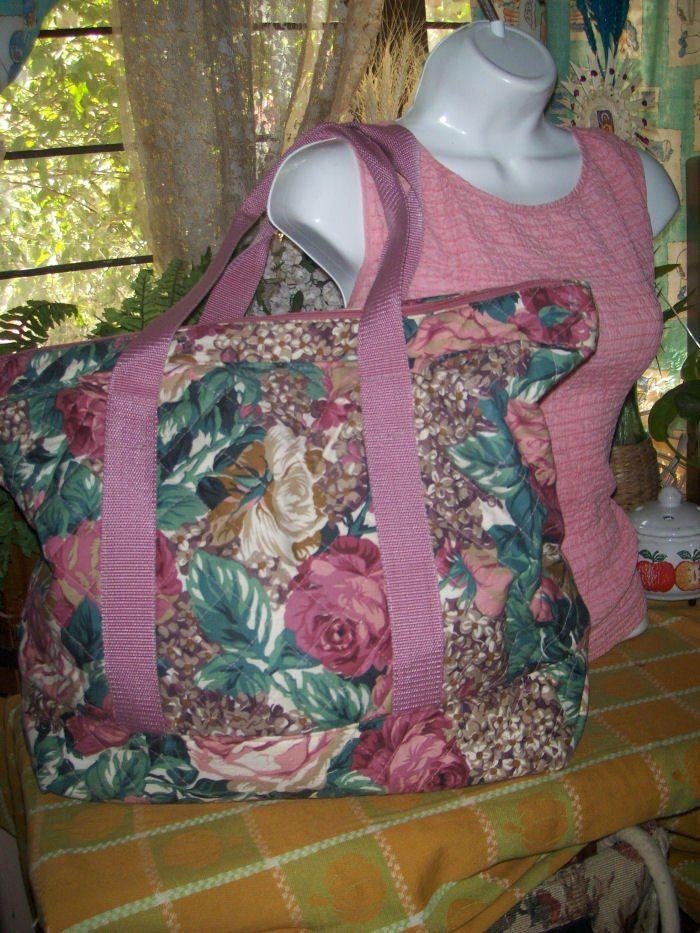 Enorme Bolsa Tote De Tela Floreada Rosa Hm4 - $ 70.00 en MercadoLibre