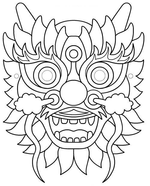 Coloriage Carnaval A Imprimer Pdf.Pdf Masque De Dragon A Imprimer Masque Dragon Dragon
