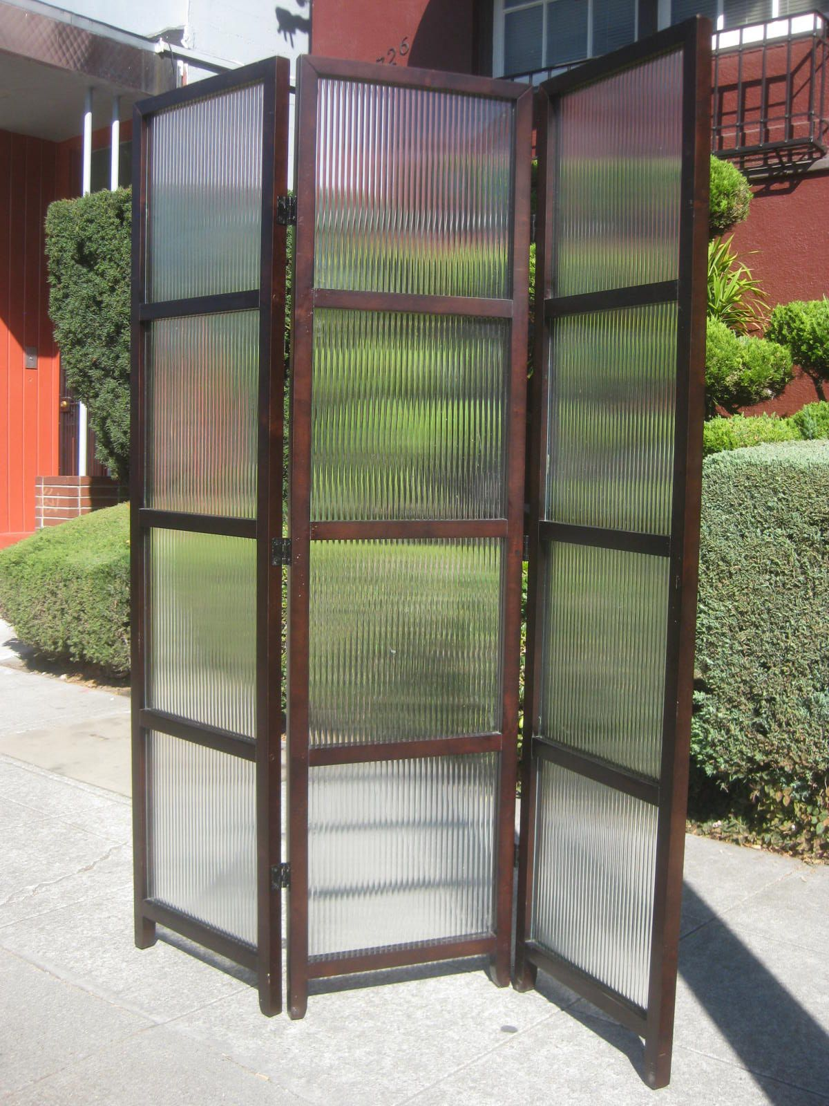wood amnd glass room divider sold glass and wood room divider