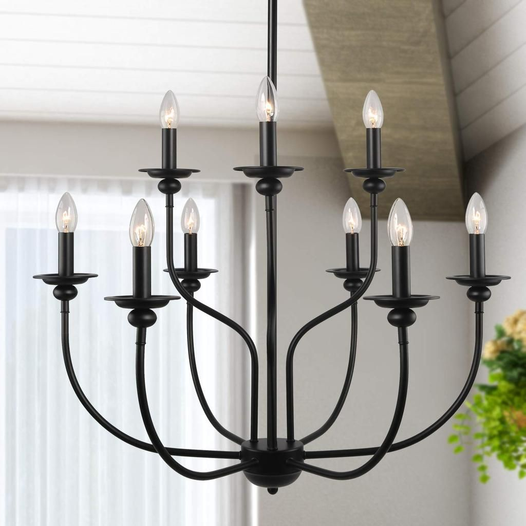 Black Metal Chandelier 9 Lights Country Chandelier French